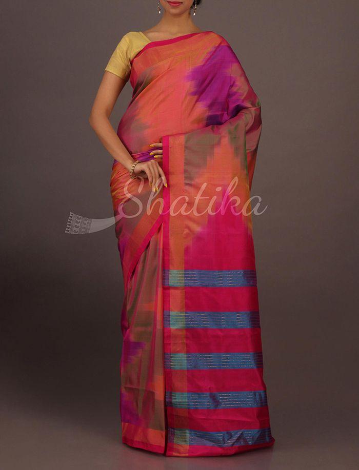 Anchal Multicolored Blot Ink Ikat Stripy Pallu Contemporary #SoftSilkSaree