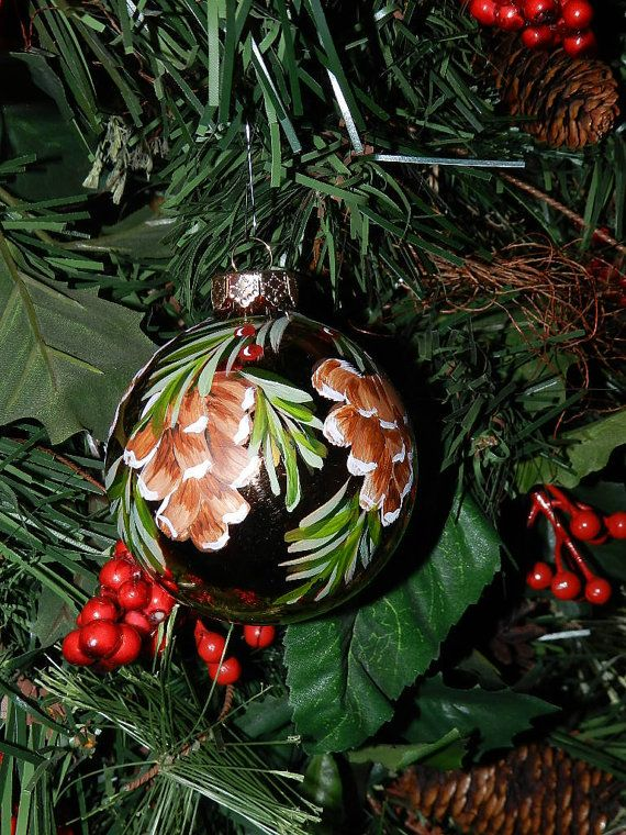 Glass Pinecone Hand Painted Christmas Ornament by malanes on Etsy, $9.99