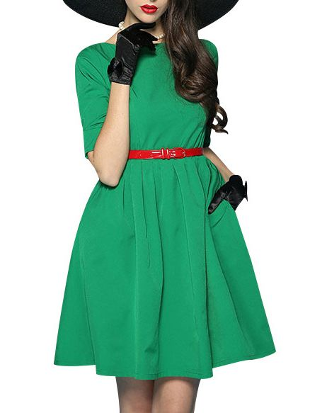 39f2f72c5097 Round Neck Belt Plain Skater Dress  skaterdress