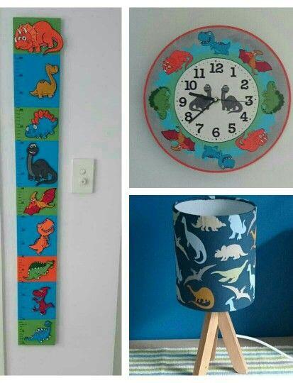 Dinosaur lamp, clock. Height chart