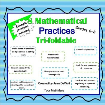 Students will become better problem solvers and enjoy learning about the 8 mathematical practices using this interactive tri-foldable!Your students will be able to refer to this resource all year long as they become master mathematicians. Students can glue or tape this foldable into their IRB.