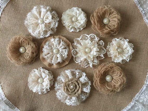 10 fiori fatti a mano, tela di ragno e pizzo, con strass perla pulsanti torta nuziale, bouquet da sposa, cerchietti