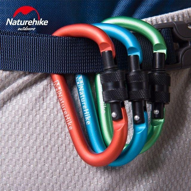Naturehike 4pcs 6cm D Shape Aluminum Alloy Hiking Climb Carabiner Hook Mountaineering Carabiner Climbing Hook Tent Accessories Climbing Carabiner Keychain Clip