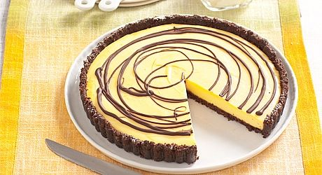This lush Chocolate and Custard Tart won't last long at the dinner table