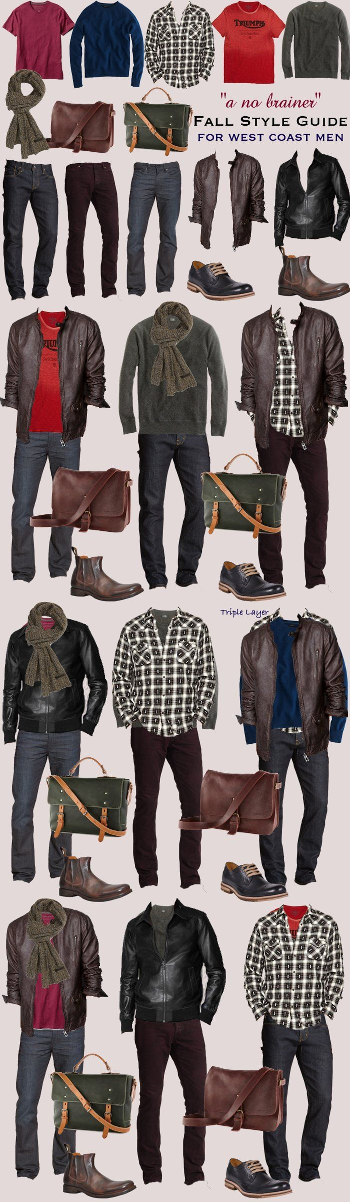 STYLE TIP: 2013 Men's fall color mix and match guide for West Coast Men. You can mix and match any of the top items and come out looking great everytime. We've collated all the combinations. DON'T FORGET TO ADD YOUR MEN ACCESSORIES TO COMPLETE THE LOOK ---> FOLLOW US ON PINTEREST for Style Tips, our current SALES, men's Wardrobe essentials etc... ~~~ VujuWear ~~~ pinned from Savvynista…