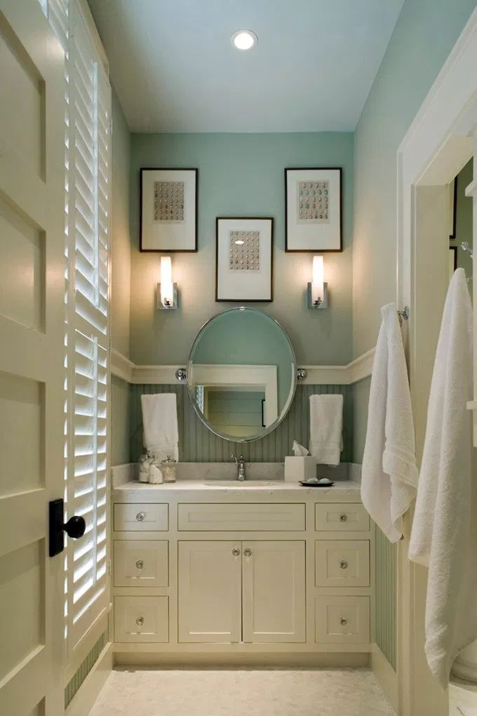 Small bathroom ideas. Wall color is Wythe Blue from ...