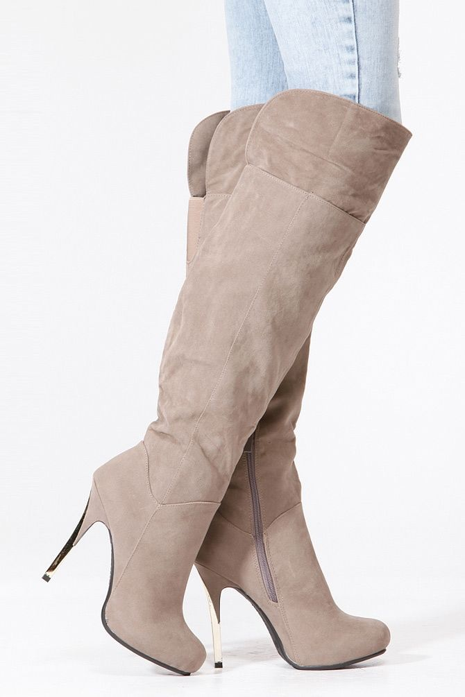 Bamboo Taupe Velvet Gold Accent Boots