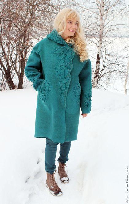 Верхняя одежда ручной работы. Пальто валяное Морская волна. Марина Власенко. Интернет-магазин Ярмарка Мастеров. Абстрактный