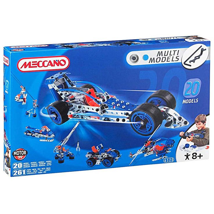 This Meccano 20 Model Set enables you to build and construct up to 20 different models with the 261 parts provided. The 3V Electric Motor then allows the builder to enjoy the toy interactively.