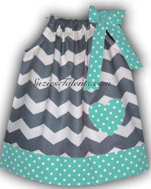 15 SALE Pillow Case Dress Chevron and Polka Dot by SuziesTalents, $14.25