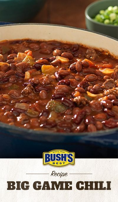 Bush's® Big Game Chili: Bush's® Chili Beans add just the right flavor to this hearty recipe. It's perfect for tailgate parties, block parties and family dinners.