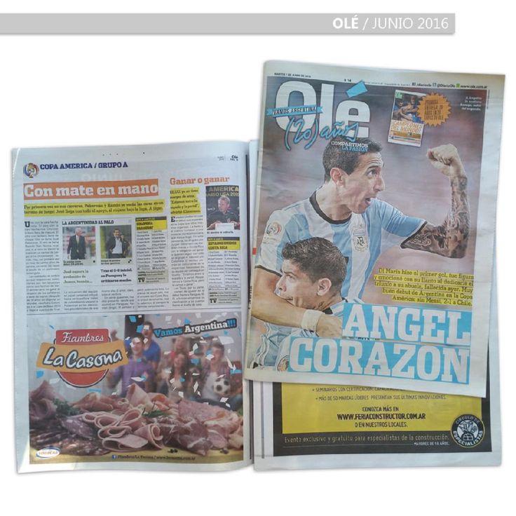 Diario Olé 07/06/2016 Copa América 2016 Argentina vs. Chile