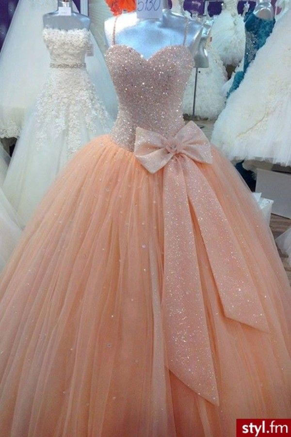 Dress: peach bow ball gown prom glitter