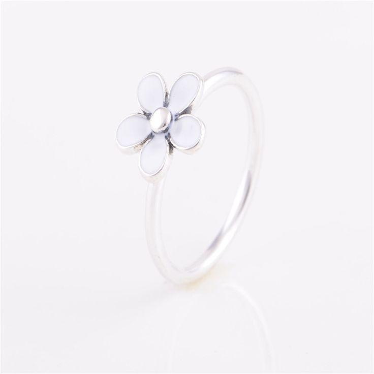 Кольца совместим с европейском стиле дорогая дейзи, Белая эмаль размер № 6 - 9 новый 100% серебро 925 мода женщин