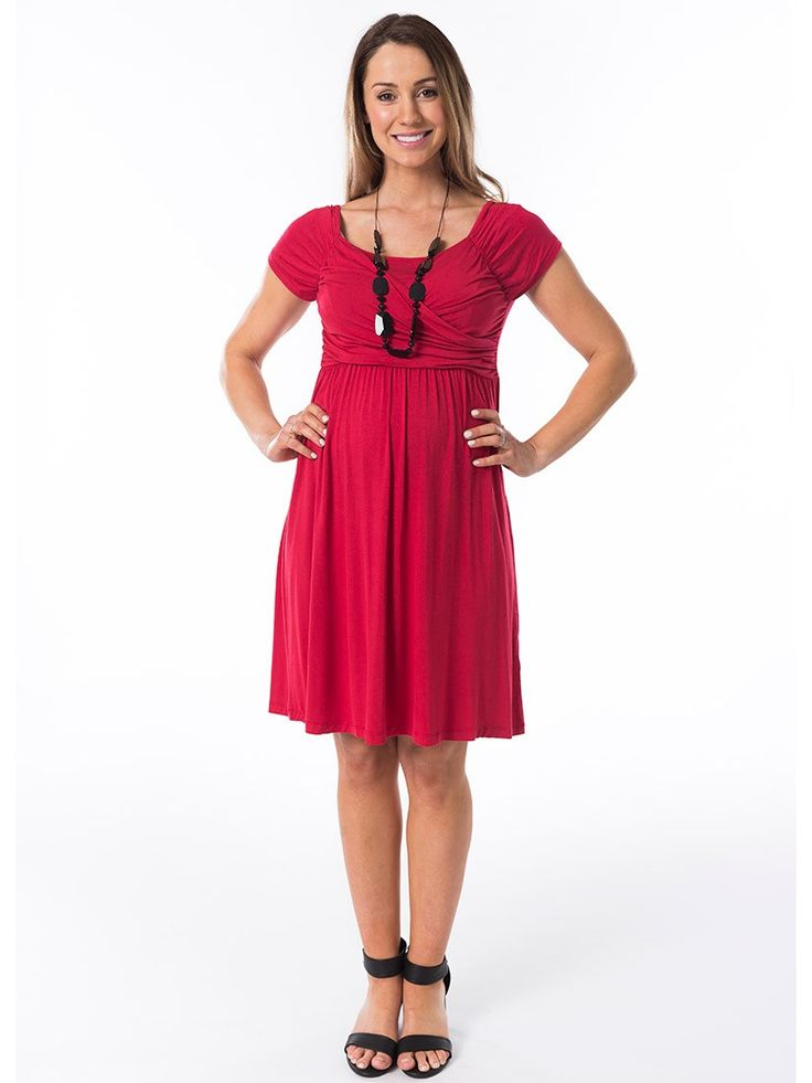 Ruby Grace Breastfeeding Dress from breastmates.co.nz -- The ruched crossover top of this maternity dress conceals breastfeeding access and gives your bust a lovely shape.