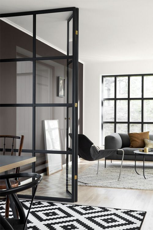 I Would Love To Have Black Steel Doors With Glass In The Living Room Of Our  New House. The Separate Space That Will Be Created Could Be A Workspace.