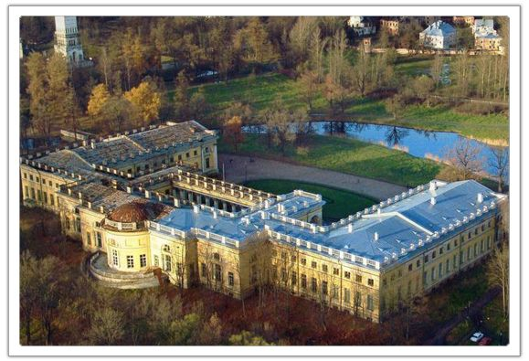 Aerial view of The Alexander Palace, Tsarskoe Selo ...