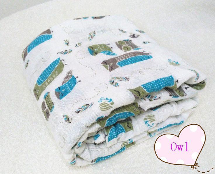 120x120cm New Soft Muslin Cotton Newborn Baby Swaddle Blanket Bath Towel Nursery Bedding