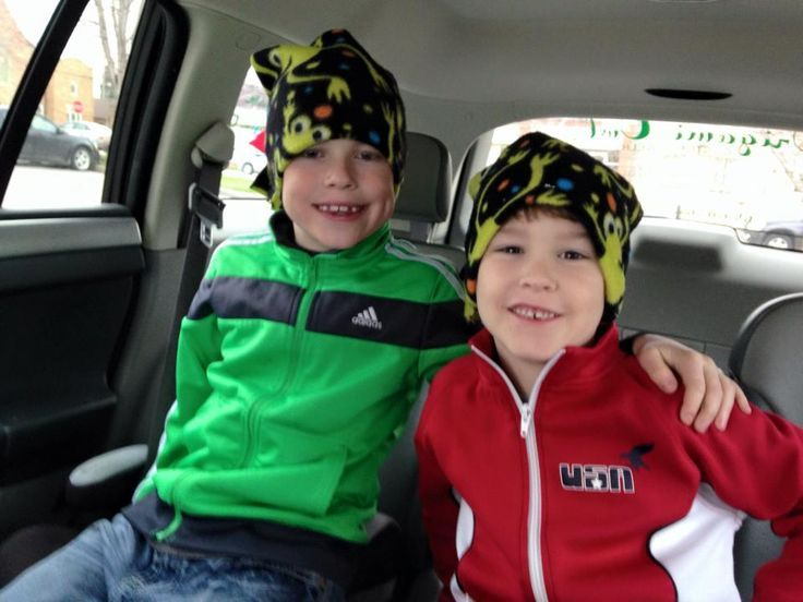 Brendan and Holden hanging out in their hats.