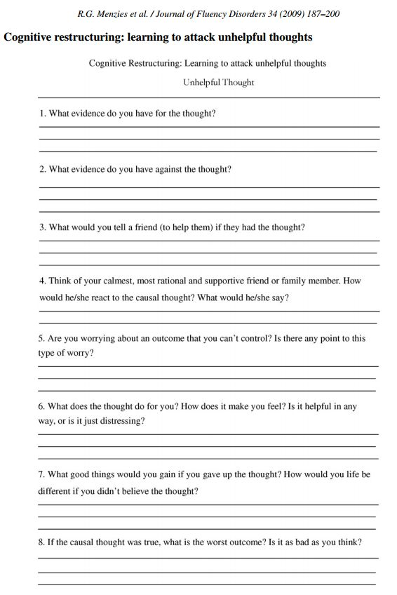 CBT worksheet... redefiningbodyimage: This looks like a really wonderful worksheet/exercise to perform for those struggling with breaking down anxious or depressive thoughts. Definitely saving this for my own personal use, especially those panic situations that seem ENDLESS.: