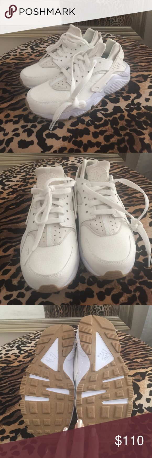 Brand New Nike Huaraches -off white leather. Never worn, Nike Ids Nike Shoes Sneakers