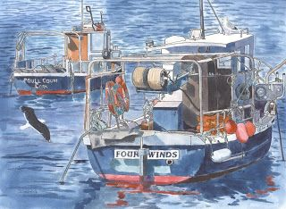 """The Art of Phil Davis:  """"Fishing Boats in Ballycotton """"Ink pigment on acr..."""