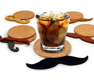 Moustache Korken Untersetzer 6er Set   Geschenkidee.ch Geschenke-Shop