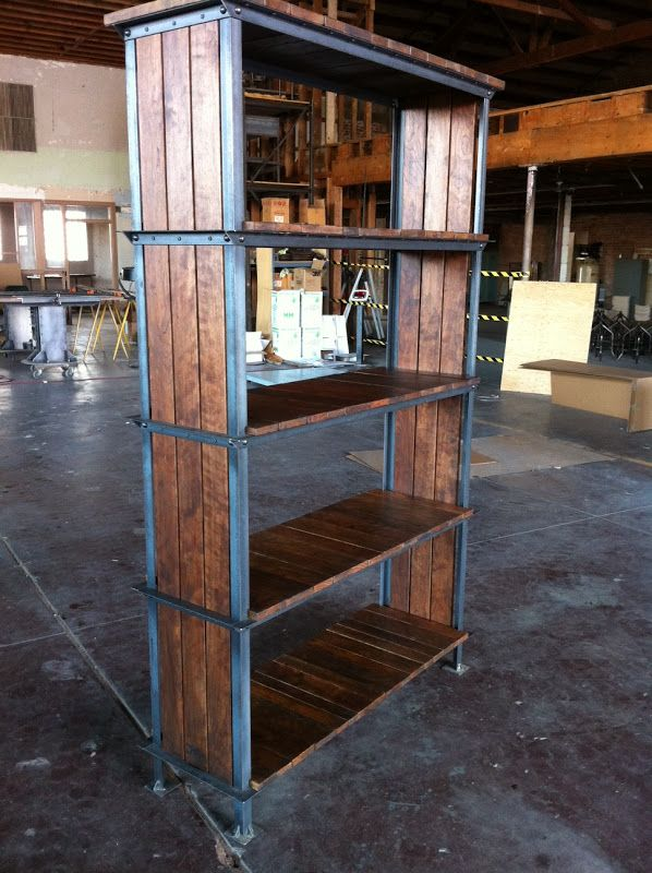 Vintage Industrial Ellis shelf with solid steel and solid stained cherry wood.
