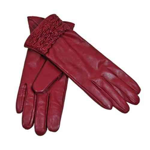 Cadelle Leather Ruched Gloves - Red - White Apple Gifts