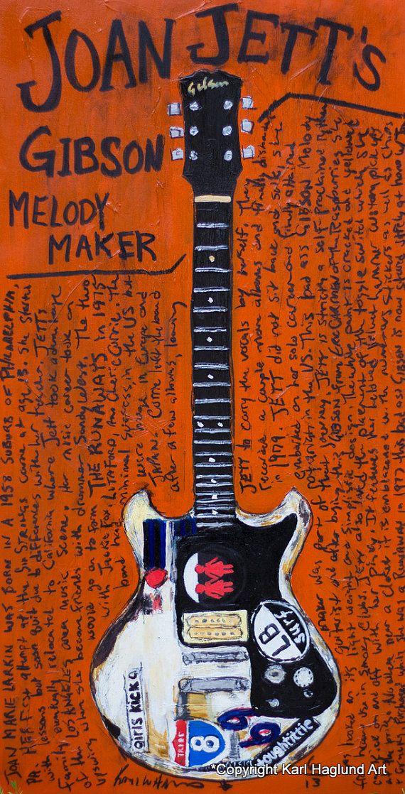 Joan Jett Gibson Melody Maker Vintage electric by KarlHaglundArt, $20.00