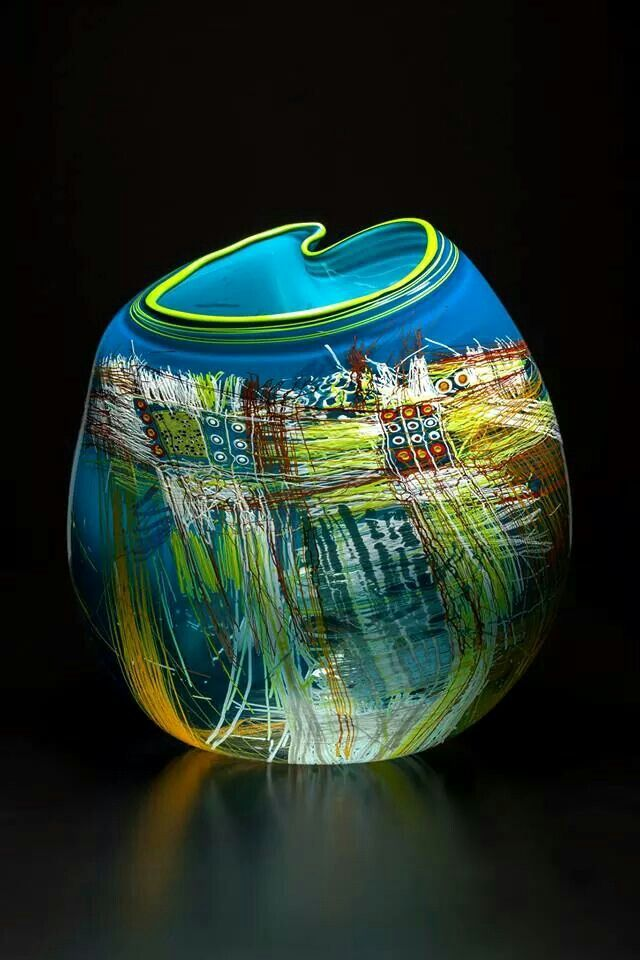 Chihuly Art-Glass Vessel - Turquoise with Lime or Yellow Lip
