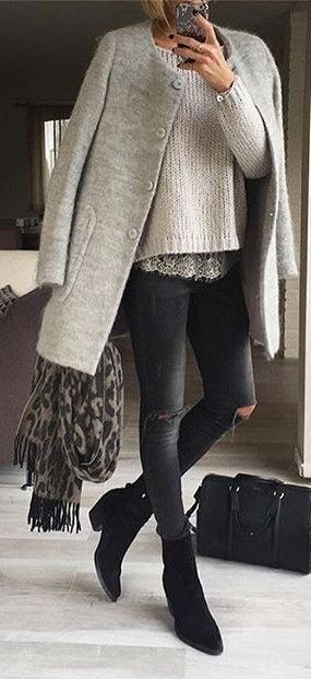 #winter #fashion /  Grey Coat + Black Booties