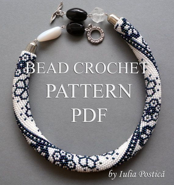 """Pattern for bead crochet necklace """"Winter Lace"""" / Blue, crystal snow, bead crochet pattern / Beaded Necklace / Pattern only"""