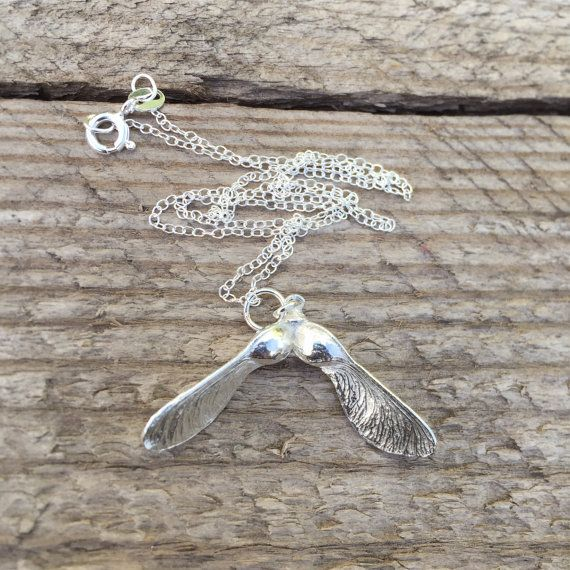 Sterling silver necklace with sycamore seed charm. The sycamore has been cast into solid silver. It hangs on a 16 or 18 inch chain depending