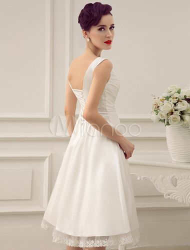 Ivory Wedding Dress Knee-Length Backless Straps Lace Wedding Gown