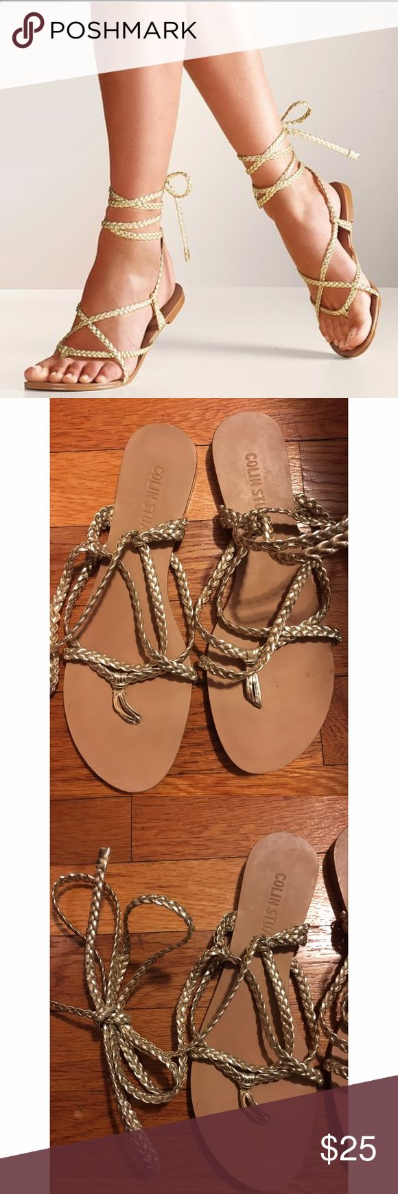 Colin Stuart Gold Braided Ankle Wrap Sandal Colin Stuart from Victoria Secret, 6.5, Gold, Braided wrap up ankle sandal, mark on inside see last picture Colin Stuart Shoes Sandals