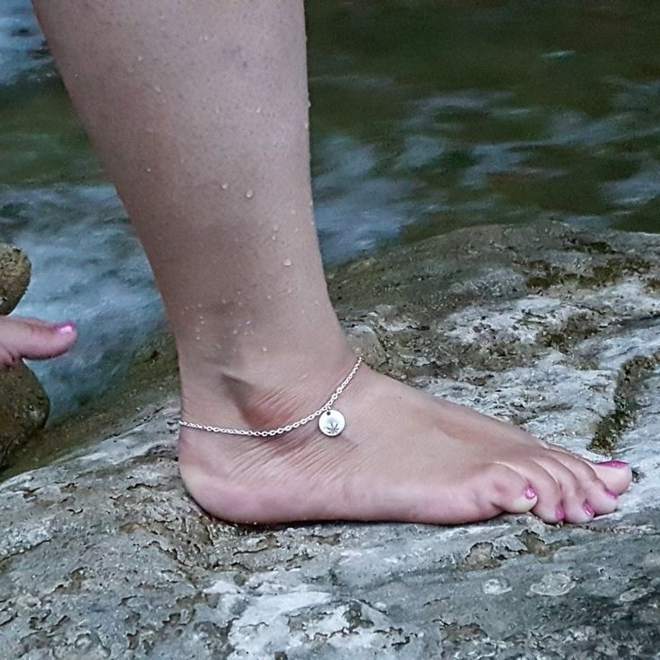 Cannabis Leaf Hand Stamped Aluminum Disc Anklet or Bracelet by The Toke Shop,  cannabis jewelry, 420 jewelry, 420 accessories, cannabis accessories, marijuana jewelry, marijuana accessories, normalize cannabis