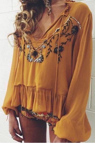 mustard golden boho blouse. tunic. sequin detail.