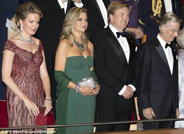Queen Maxima of the Netherlands, second from left, and Queen Mathilde of Belgium, left, attended a concert in Amsterdam with King Willem-Alexander and King Philippe