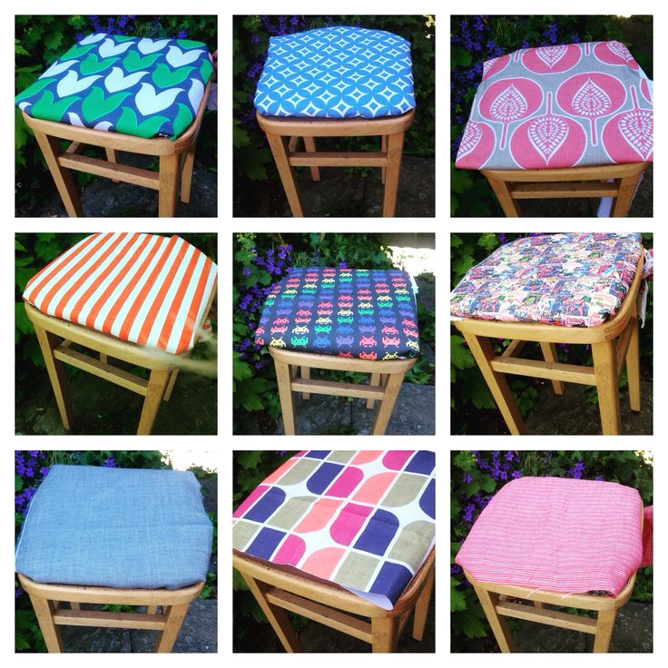Retro kitchen stools in a variety of unique fabrics. For more unique furniture visit www.facebook.com/woodenwedge