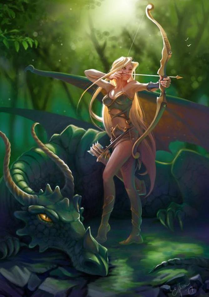 Elf archer and dragon.