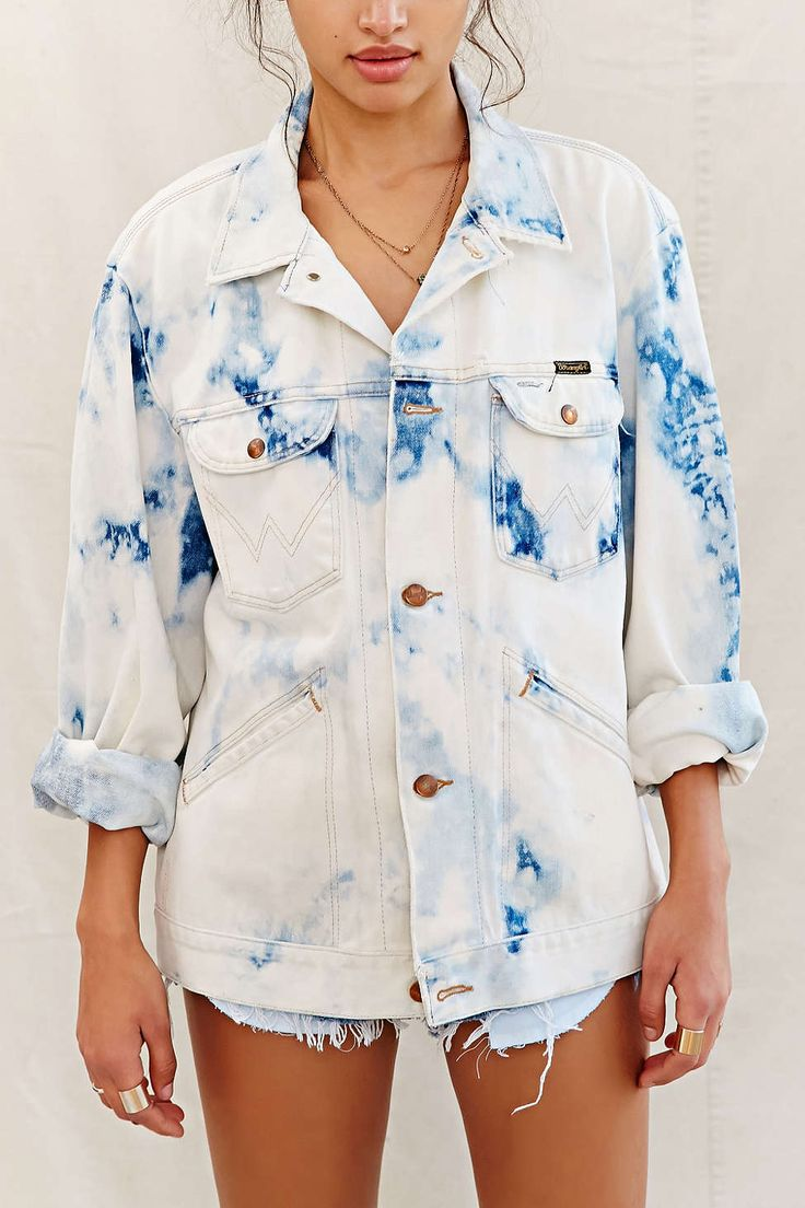Urban Renewal Recycled Blue Tie-Dye Jacket - Urban Outfitters