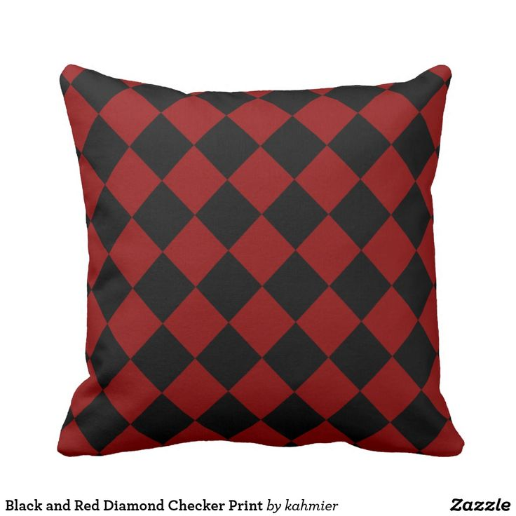 Black and Red Diamond Checker Print Throw Pillow 49% off