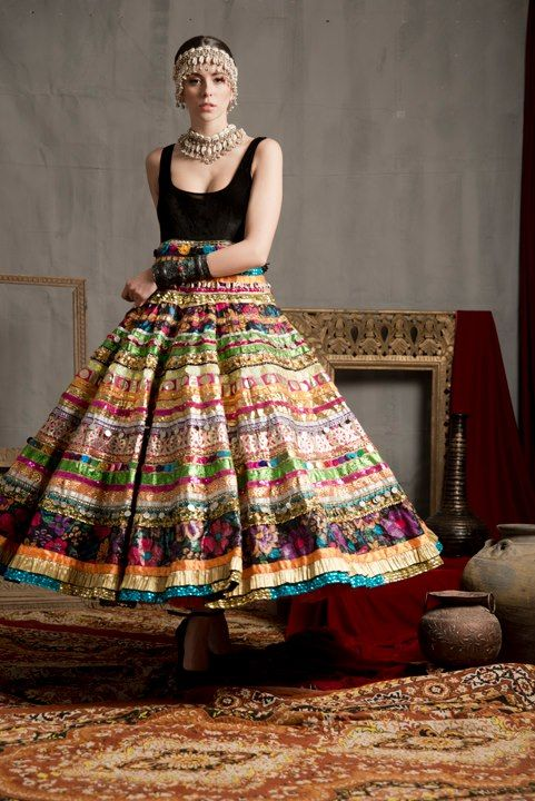 #Gorgeous Indian #Boho #Ghagra Skirt by Pragya & Megha Samor w/ Tribal style #Jewelry https://www.facebook.com/pragyamegha