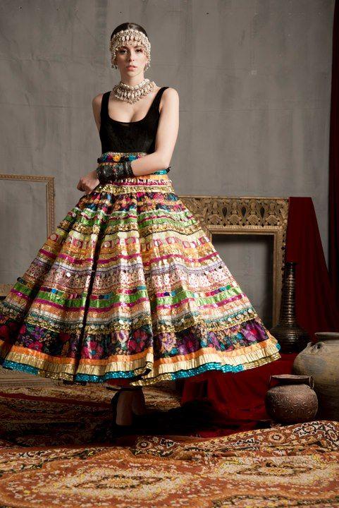 anarkali. indian fashion. pragya and megha samor. prints.