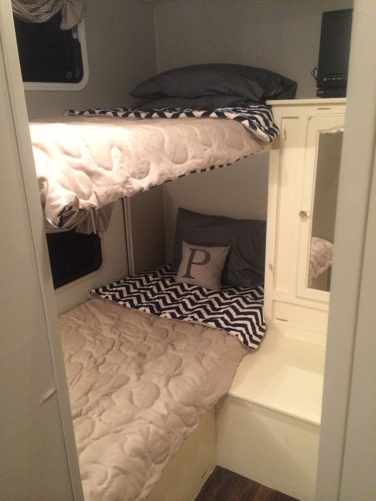 BUNKS!!!!! Camper renovation finished! Go me, it turned out beautiful!