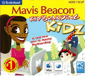 NEW Mavis Beacon Keyboarding Kidz Typing Software for Kids (PC Mac) Factory Sealed A cool new way to Master Keyboarding!  Mavis Beacon Keyboarding Kidz combines award-winning typing instruction, cool teen instructors, and a fun learning environment to help kidz master keyboarding from A to Z! Created especially for kidz by the leader in keyboarding software.     3 Skill Levels     250 Keyboarding Lessons     200 Practice Session Topics     10 Typing Games     Detailed Progress Tracking