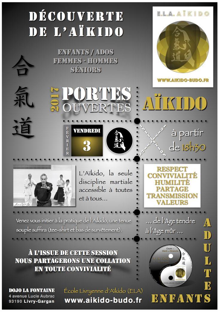 """Le vendredi 3 février 2017 aura lieu au Dojo La Fontaine de Livry-Gargan une session """"Portes Ouvertes - Aïkido"""" à partir de 18h30.  Venez découvrir l'AÏKIDO en famille, entre amis, entre collègues ou bien seul(e).  ENFANTS - ADOS - FEMMES - HOMMES - SÉNIORS.  Un simple bas de survêtement et un tee-shirt suffiront. http://www.aikido-budo.fr/ #aikido #aikiken #aikijo #bukiwaza #aiki #aikidoka #hakama #bokken #bokuto #artmartial #budo #stageaikido #aikikai #dan #portesouvertes"""