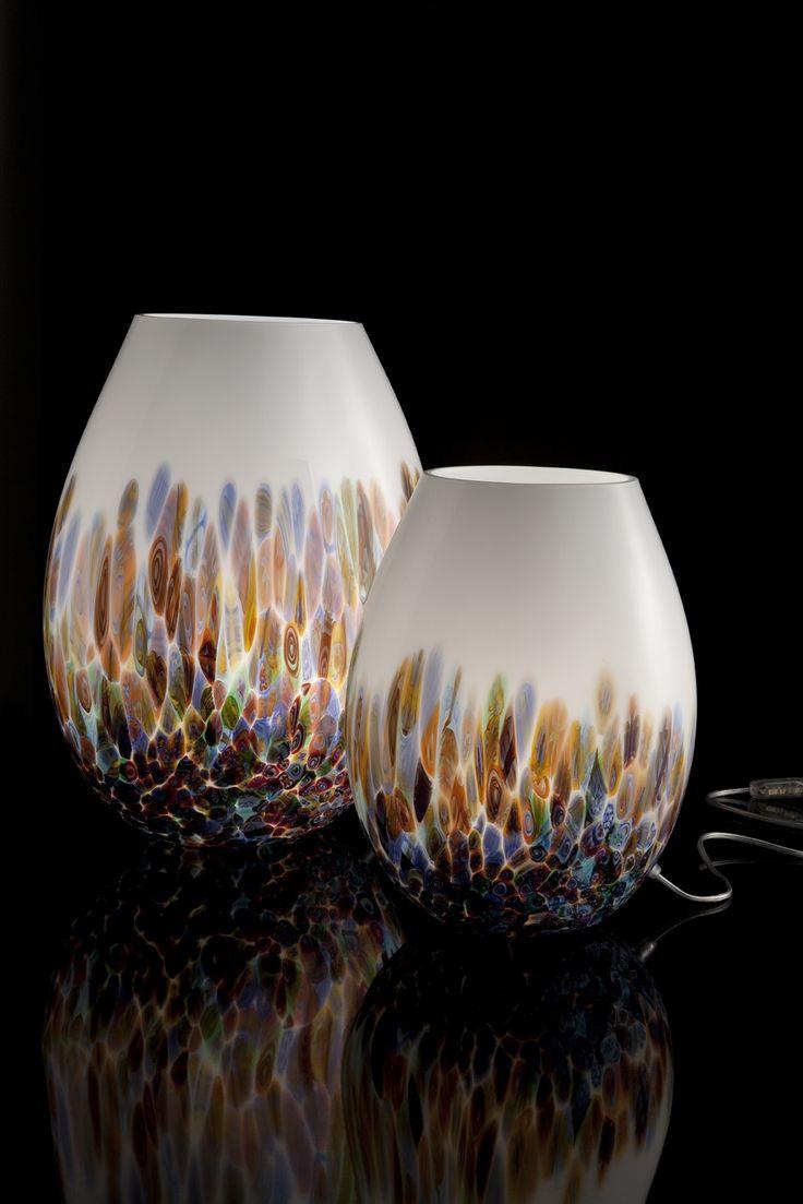 #White and multicolour #murrinas #MuranoGlass #table #lamp