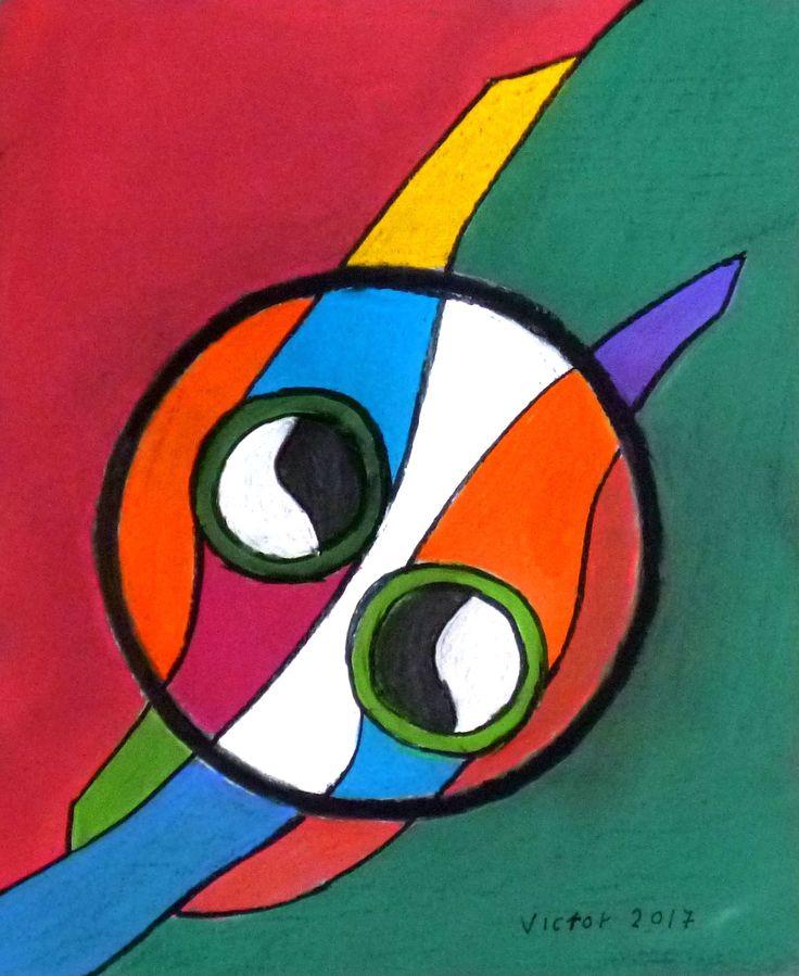 Abstrakt 520, pastell. Abstract 520, pastel.